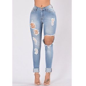 High waisted distressed fashion nova jeans